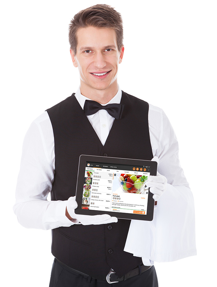Waiter offering tablet with daShef